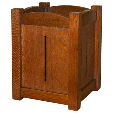 Mission Style Waste Basket - Trash Can - GAASM001C This Mission Style Waste Basket - Trash Can is perfect by your oak desk or in the bathroom. The graceful little waste basket has the stout square solid oak posts and framing typical of the Arts & Crafts movement as well as the decorative interest of a pierced panel on each side. Finished in a warm hand-rubbed California Mission Finish. $150