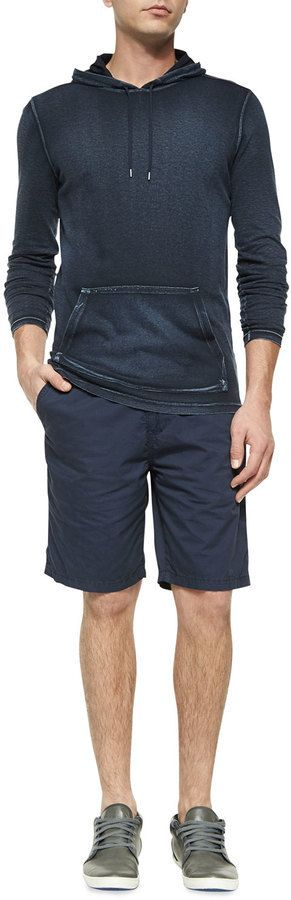 $148, John Varvatos Star Usa Woven Cotton Shorts Blue. Sold by Neiman Marcus. Click for more info: https://lookastic.com/men/shop_items/305015/redirect