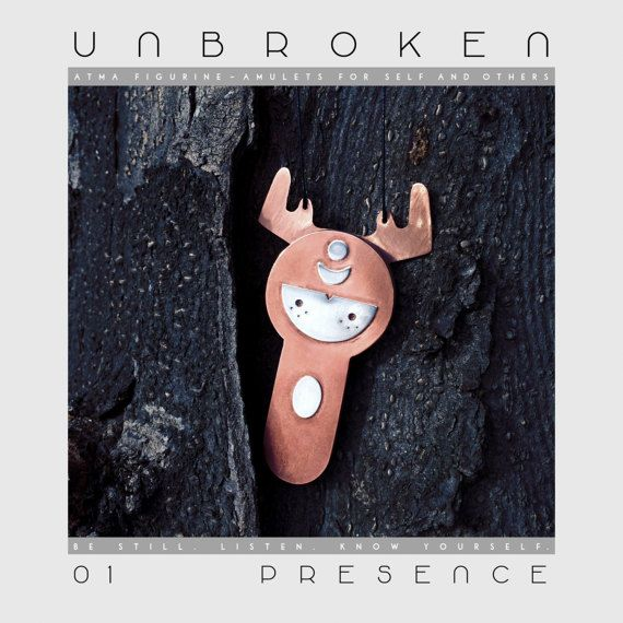 ATMA * UNBROKEN 01 - PRESENCE Copper + Silver + Walnut figurine amulet