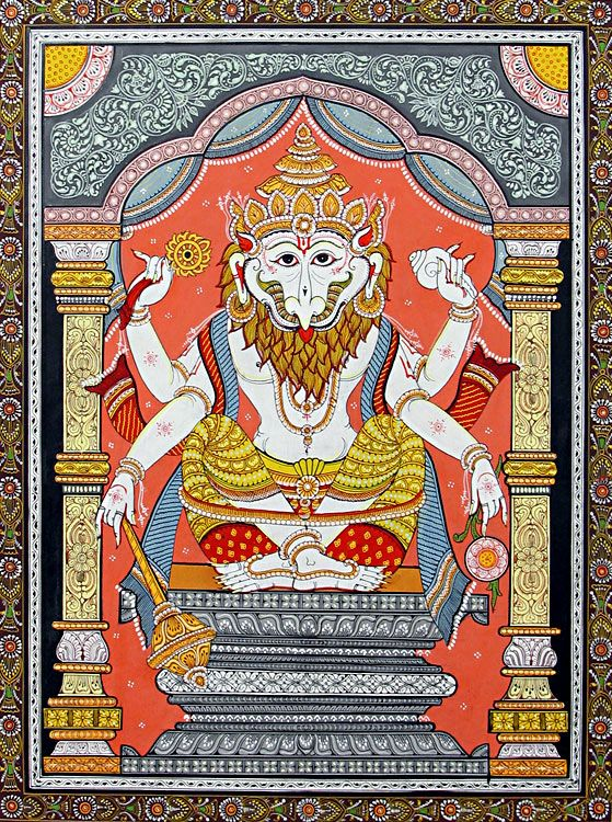 Narasimha Avatar - The Fourth Incarnation of Vishnu (Orissa Paata Painting on Canvas - Unframed)