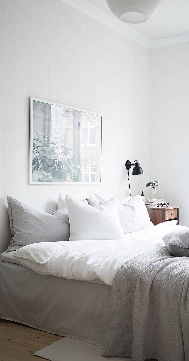 Bed sheets designs white - Grey Linen Bed Black Sconce White Light Art Over Bed