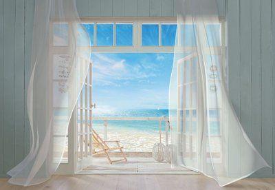 Deuren open, uitzicht op strand en zee, zacht briesje... heerlijk! Schitterend fotobehang met een afmeting van 368 x 254. Prijs 79,95