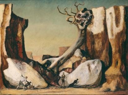 Russell DRYSDALE  The rabbiters (1947)  oil on canvas  76.6 x 102.5 cm  National Gallery of Victoria, Melbourne