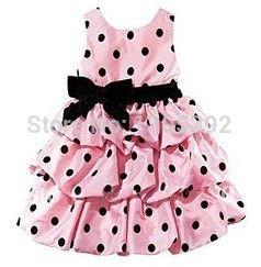 Розничная 2016 детская одежда ребенка в горошек платье девушка платье принцессы для празднования дня рождения ну вечеринку бесплатная доставка