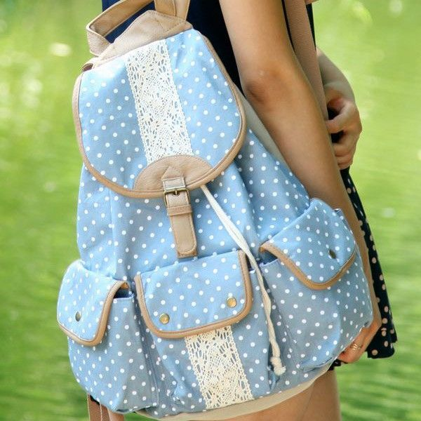 Polka Dot Lace Canvas Backpack. So cute and light. Love it. I really want this bag.