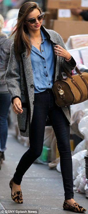Love the slim black pants, chambray top, big sweater, and leopard loafers. This will look good with my new fav pant: the minnie!