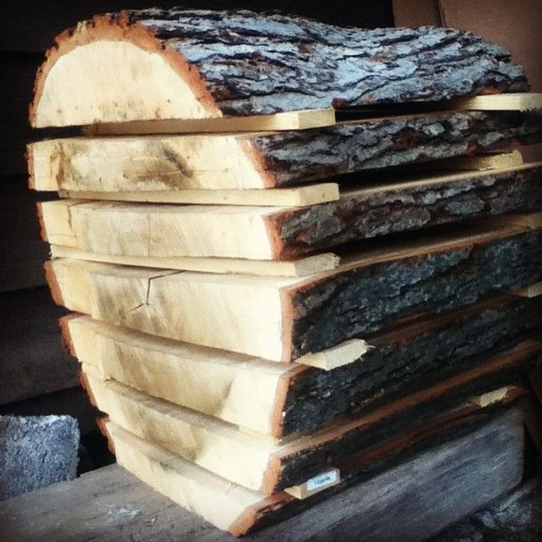 stacked wood slices are drying slowly