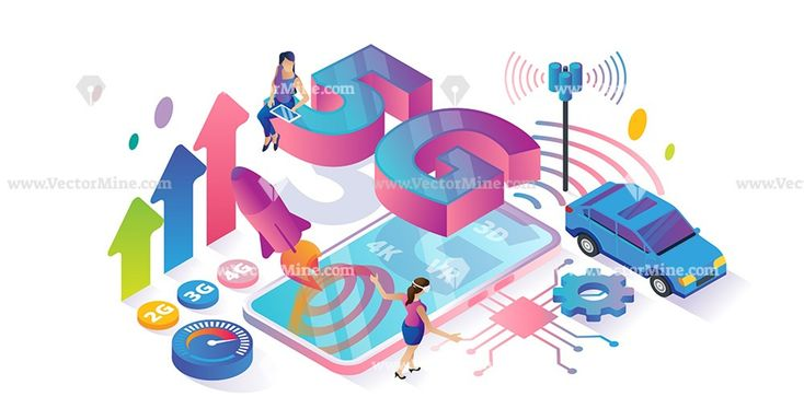 Technology 5G speed isometric concept vector illustration