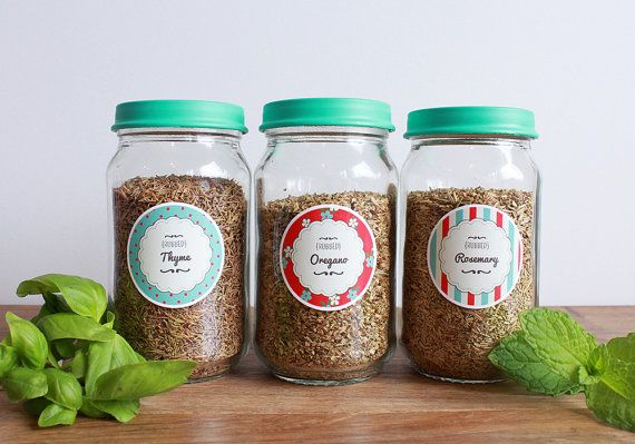 EDITABLE SPICE JAR labels diy Kit - Herb & Spice Jar Labels - Floral, Striped and Polka Dot