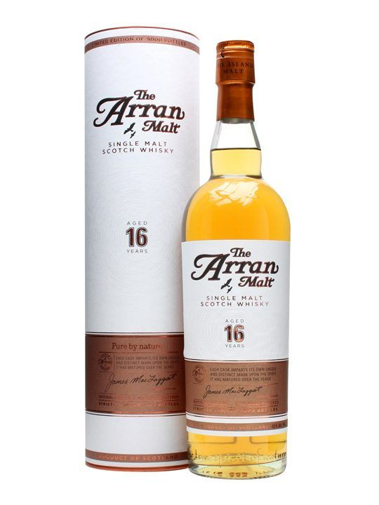 Arran 16 Year Old : Buy Online - The Whisky Exchange - A special limited release of the, at the time of bottling, oldest whisky yet to come out of the Isle of Arran distillery. Aged for 16 years in a mixture of bourbon and sherry casks its a perfect e...
