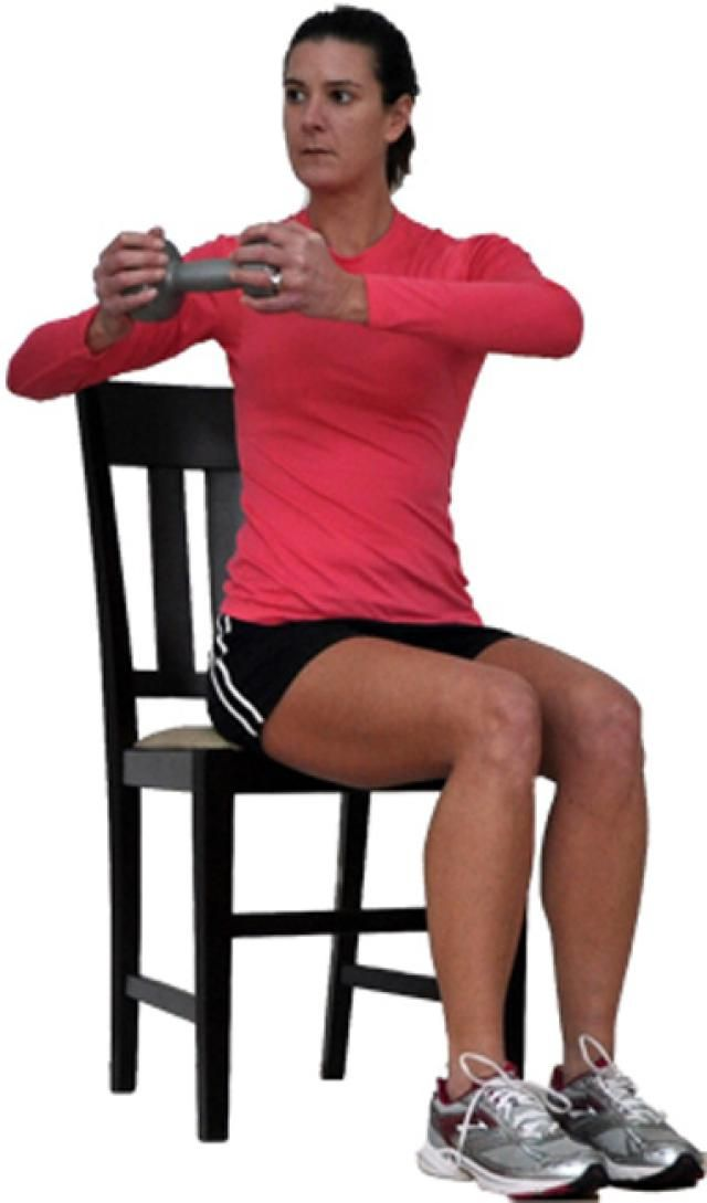 If you're overweight or obese, maybe you think - I'm too overweight to lift weights!  Well, you're not.  If your body needs more support for strength training, try this total body seated workout.: Seated Rotation for Abs