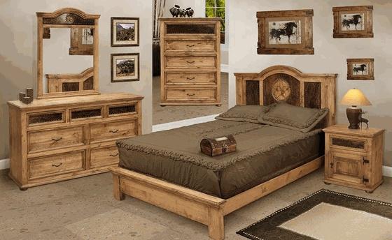 Rustic bedroom furniture set w/ cowhide!