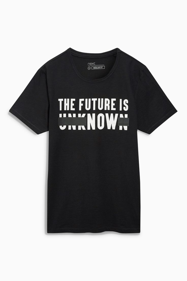 Buy Black Slogan T-Shirt from the Next UK online shop