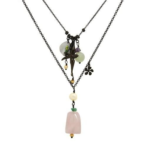 Exquisite necklace with precious stones. Genuine amethyst, chalcedony, crystals, mother of pearl, quartz in black base metal. Total item weight 8.1g. Length 33 inch.