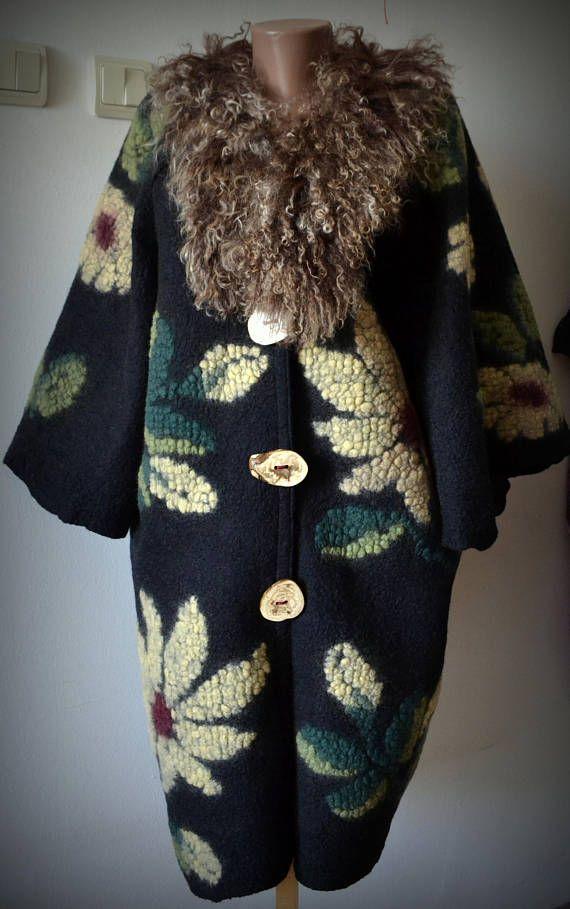 Felted black jacket nuno felted jacket wool felt coat