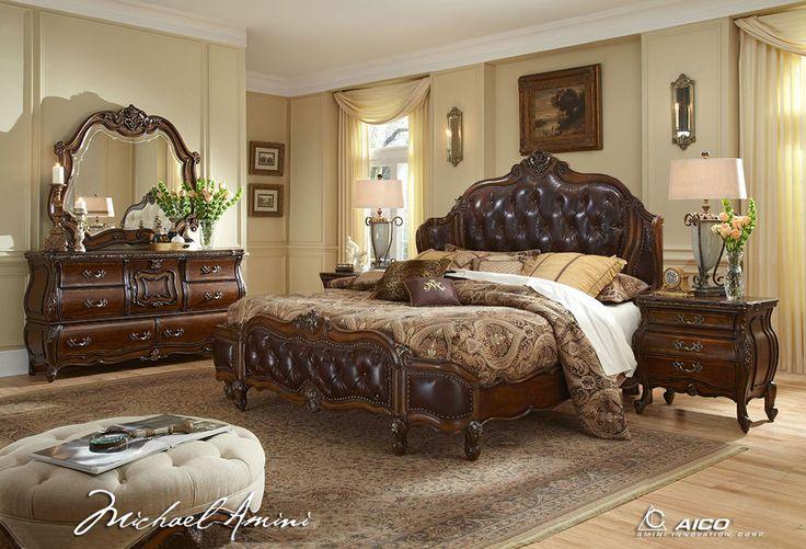 Lavelle Melange Luxury King Bedroom Furniture Set Leather Tufted Headboard Aico | eBay