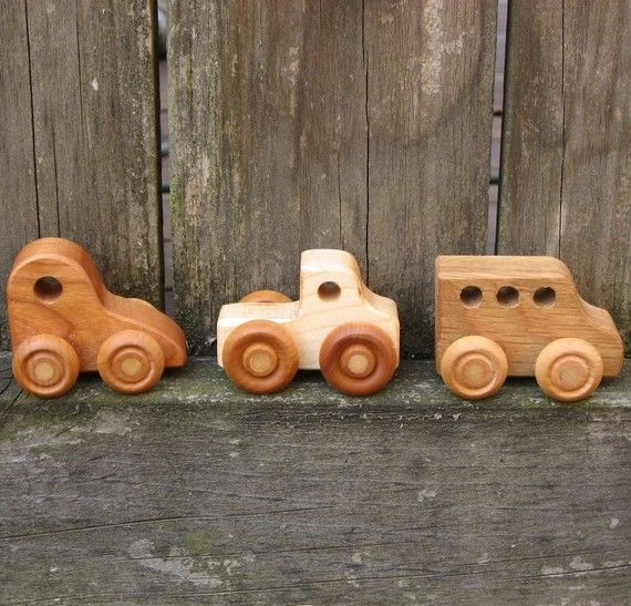 Three Little Wooden Toy Cars  Kids Handmade Natural by WoodToyShop, $18.00