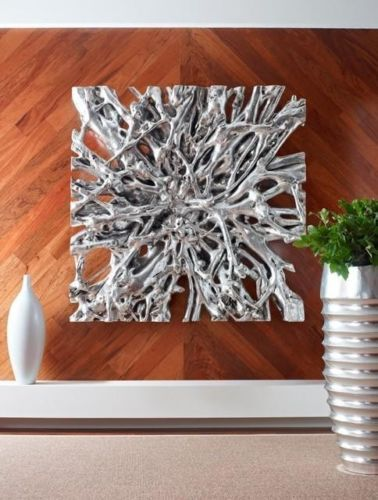 """Contemporary Wall Art For Modern Homes: 48"""" Square Root Silver Leafed Resin Cast Wall Sculpture"""