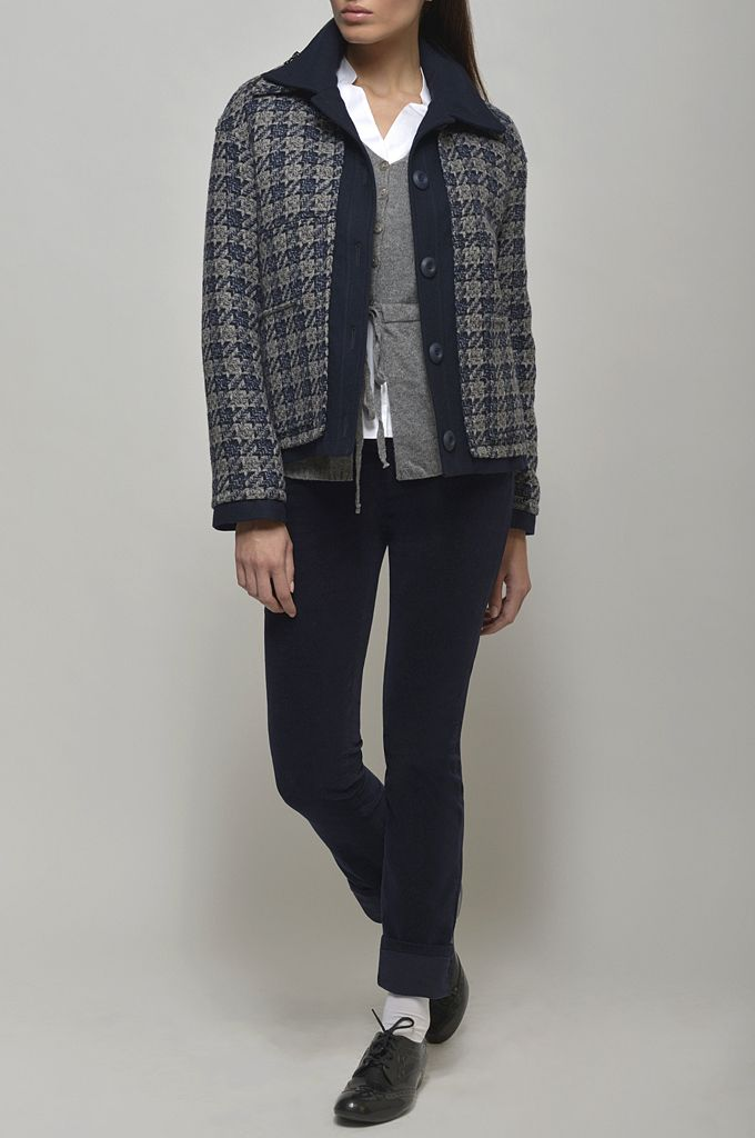 Checked overcoat with navy trimming/ Belted knitted cardigan/ Long sleeve cotton shirt/ Straight leg velveteen pant.