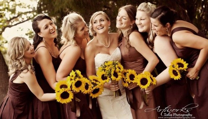 not the Brown bridesmaid dresses, but all the individual sunflowers are gorgeous