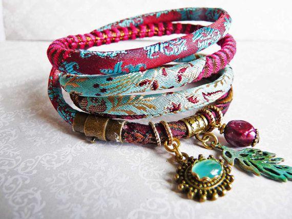 pure silk brocade wrap bracelet wine red light pastel blue