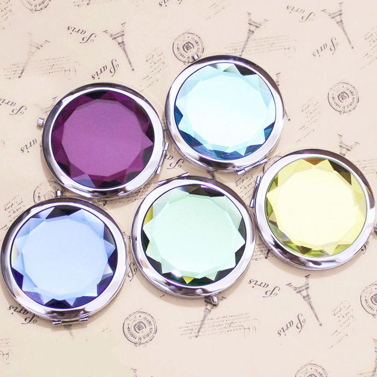 Metal Round Crystal Pocket Mirror //Price: $9.50 & FREE Shipping //   #mua