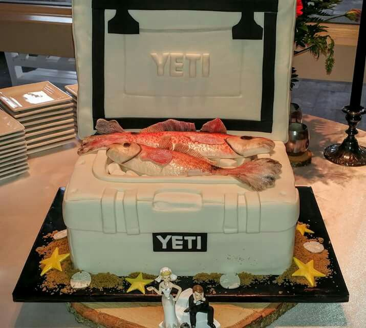 Yeti Cooler Groom's Cake  with Saltwater Red Fish