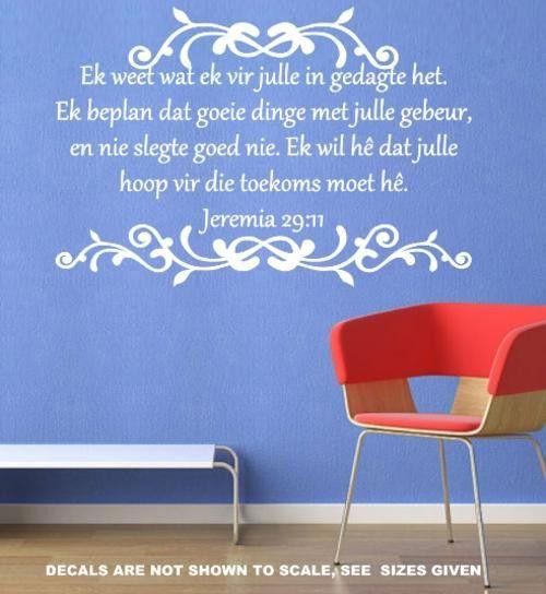 BYBEL VERS JEREMIA 29:11 (AFRIKAANS) INSPIRATIONAL BIBLE VERSE 5 WALL ART STICKER EXTRA LARGE VINYL DECAL