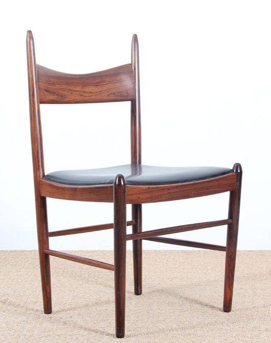 H. Vestervig Eriksen; Rosewood and Leather Side Chair for Tromborg Møbelfabrik, 1960s.