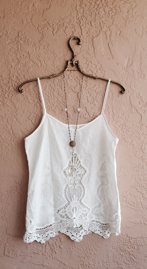 Romantic White cutwork embroidered bohemian camisole