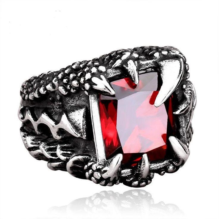 Men's Dragon Claw Ring Retro Punk Titanium Steel Zirconia Gift