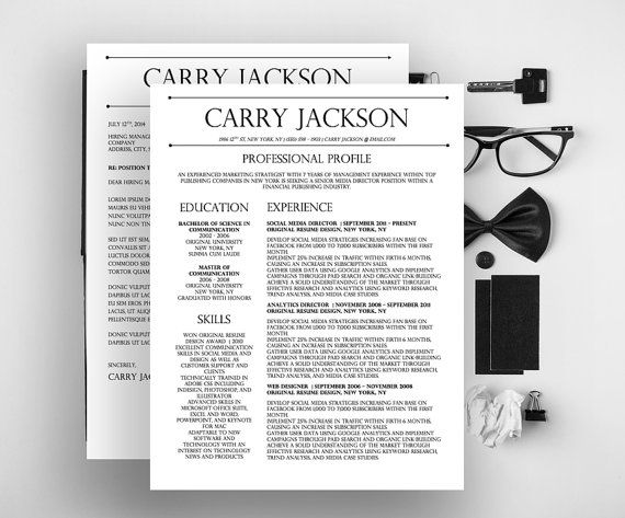 Carry Jackson Modern 2 Page FANCY Resume + Cover Letter Template For  Microsoft Word  Fancy Resume