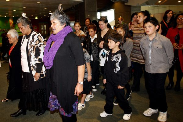 Children who feature in the film Tatarakihi -The Children Of Parihaka are wecolmed into the theatre at Te Papa. Forty children, two weeks, one bus. But this was no average school trip, this was a hikoi of remembrance. The children followed in the footsteps of their great-great grandfathers who were transported from Parihaka pa in Taranaki to the South Island 130 years ago. A film telling the story of the children's journey premiered in Wellington on Saturday at Te Papa ... photo Kent…