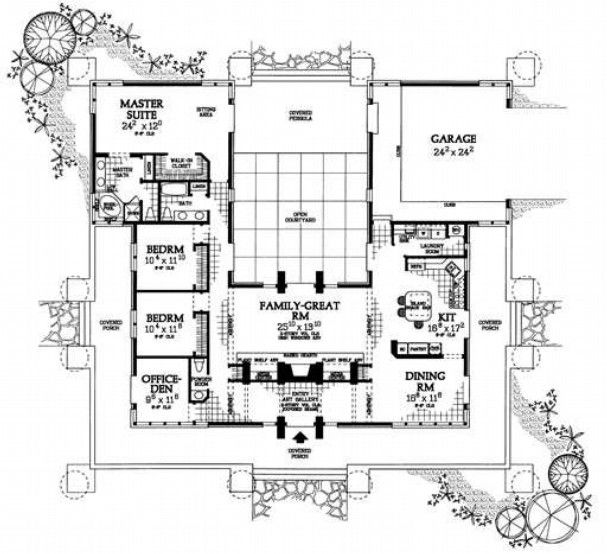 Floor Plan For Homes With Courtyard Prairie Style With Courtyard House Floor Plans