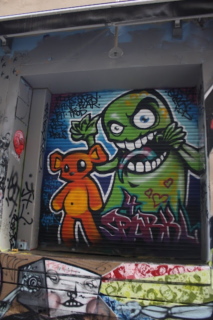 Some graffiti from a trip to Melbourne.  Love that particular lane way in the middle of the CBD.