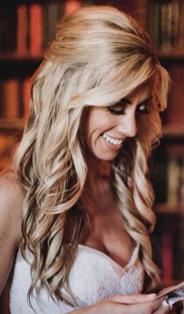 bride s half up long blonde hair ideas tonik wedding