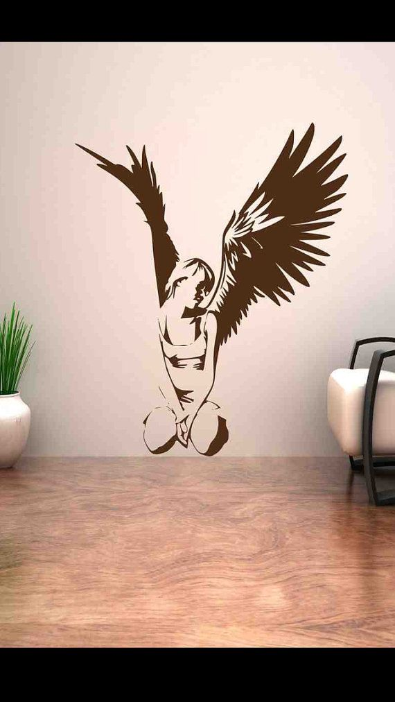 Fallen Angel Heaven Good Wing Girl Wall Art Stickers Decal Murel Stencil Vinyl Transfers Wall Stickers  Angel Wall Decals  Pinterest  Girl Wall Art, ...