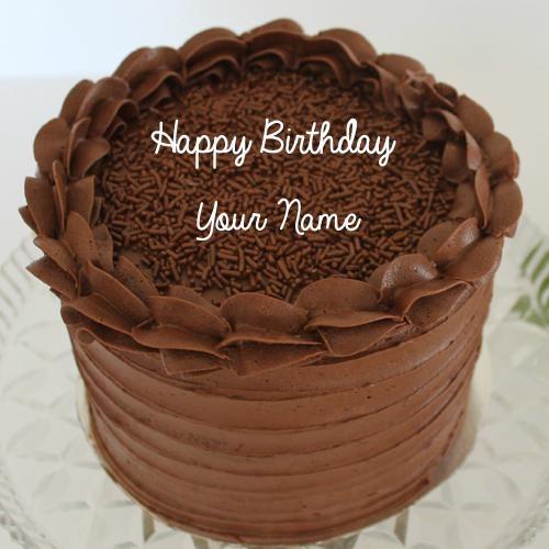 Write Name on Hand Made Choco Chips Birthday Cake