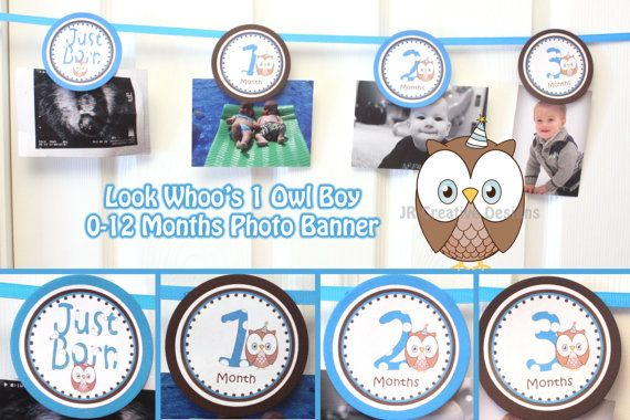 Look Whoo's 1 Owl Boy Banner Owl Banner  Birthday 1 Year Banner  0  - 12 months photo banner picture holder  - Printable DIY Digital file