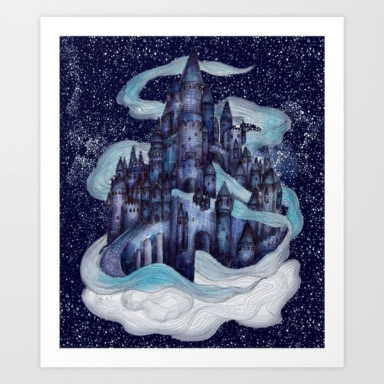 Dream Castle II by ECMazur #art #illustration #watercolor #dream #castle #magic #castleinthesky