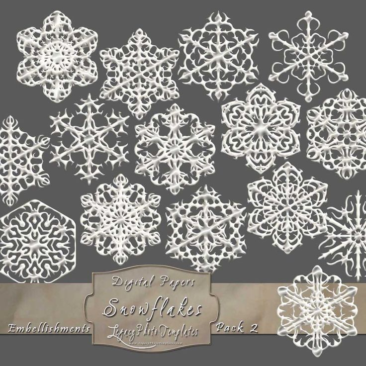15 Frosty Snowflake Overlays - Pack 2 $4.75 #snowflakes, #white, #frosty, #winter, #embellishment, #scrapbooking