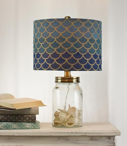 Fish Scale Stenciled Lampshade -- Update a simple burlap shade with a trendy design.