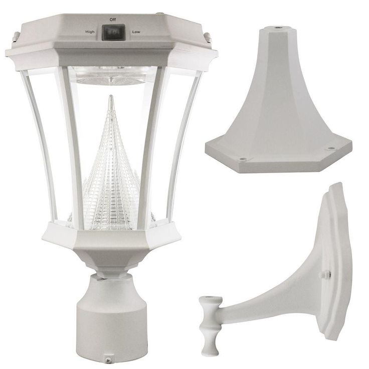 Victorian Solar White Outdoor Post/Wall Light with Bright White LEDs