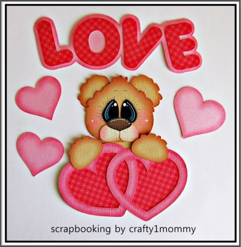 Momz Valentines Day Bear Premade Paper Piecing for Scrapbook Page by Sherri | eBay