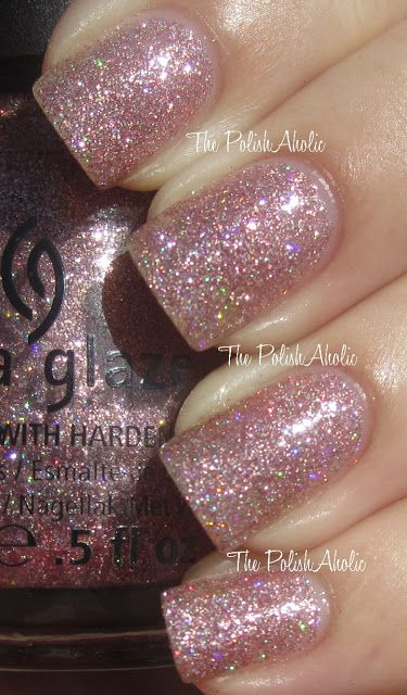 China Glaze Hello Gorgeous! is a light rosy pink glitter mixed with tons of holographic glitter
