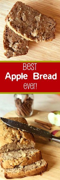 Best apple bread recipe ever! Easy, moist quick bread. Yummy fall recipe! Breakfast or snack.