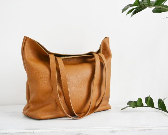 Camel BROWN LEATHER Tote Bag Large Tote Bag Italian by KadoBag