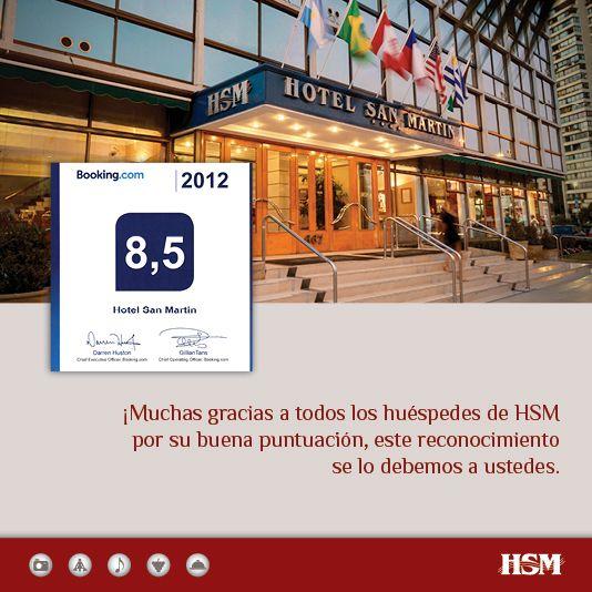 En #HSM nuevamente recibimos con mucha alegría un premio que refleja de manera positiva los comentarios que día a día nos dejan en la red.  ¡Muchas gracias a todos los que escriben en Booking.com, esperamos seguir cumpliendo sus expectativas!  #Turismo #Chile #ThisisChile #HSMChile #VinadelMar #Hoteleria #Booking #Social  http://www.booking.com/hotel/cl/san-martin.es.html#hash-blockdisplay4