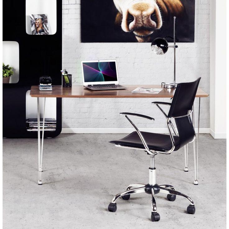 Ce Fauteuil de bureau CHIPIE en simili cuir (noir) apportera une touche de luxe dans votre salle de travail. La sobriété de sa ligne met en valeur l'originalité son profil.