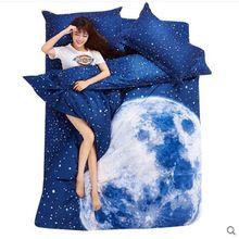 Сразу новый одеяла постельные принадлежности 3D простыня принадлежностей-пододеяльник синий звездное небо постельные принадлежности хлопок реактивной печать кровати(China (Mainland))